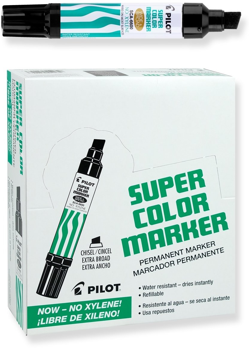 Pilot Super Color Jumbo Permanent Markers, Extra Wide Chisel Point, Xylene-Free, Black Ink, Dozen Box (45100) by Pilot