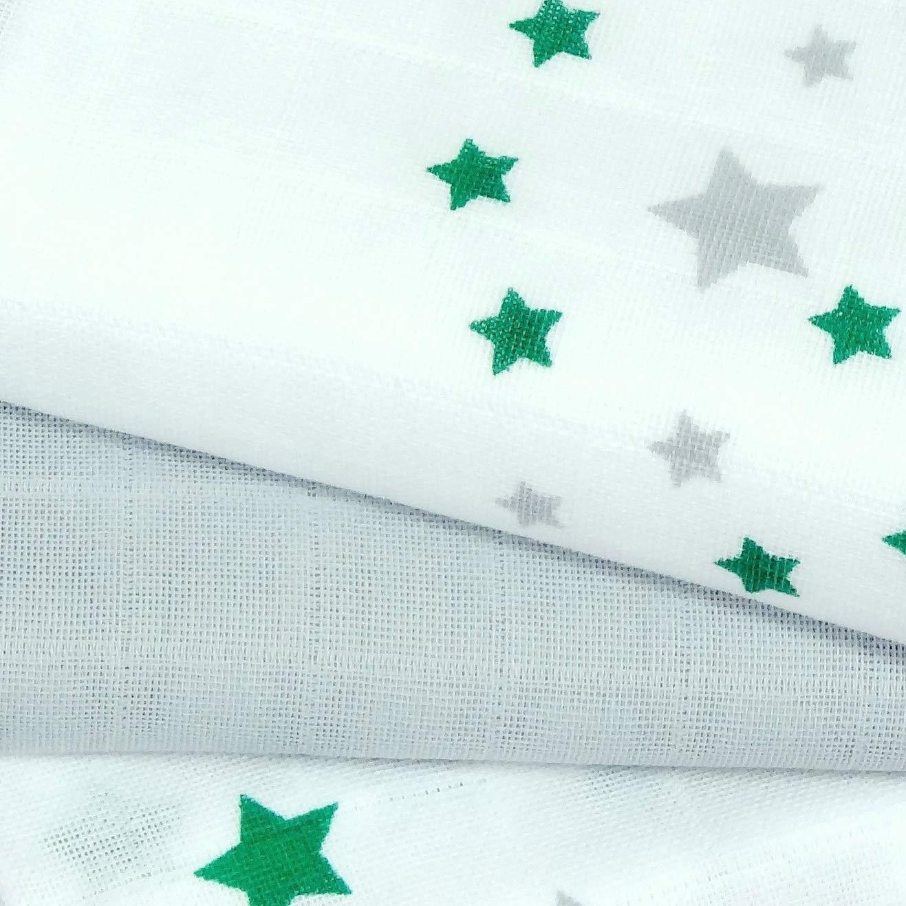 Stars aqua Babymajawelt/® Mullwindeln 70x70 cm 3er Pack Spuckt/ücher Baumwollwindeln Stoffwindeln Sterne Wolken