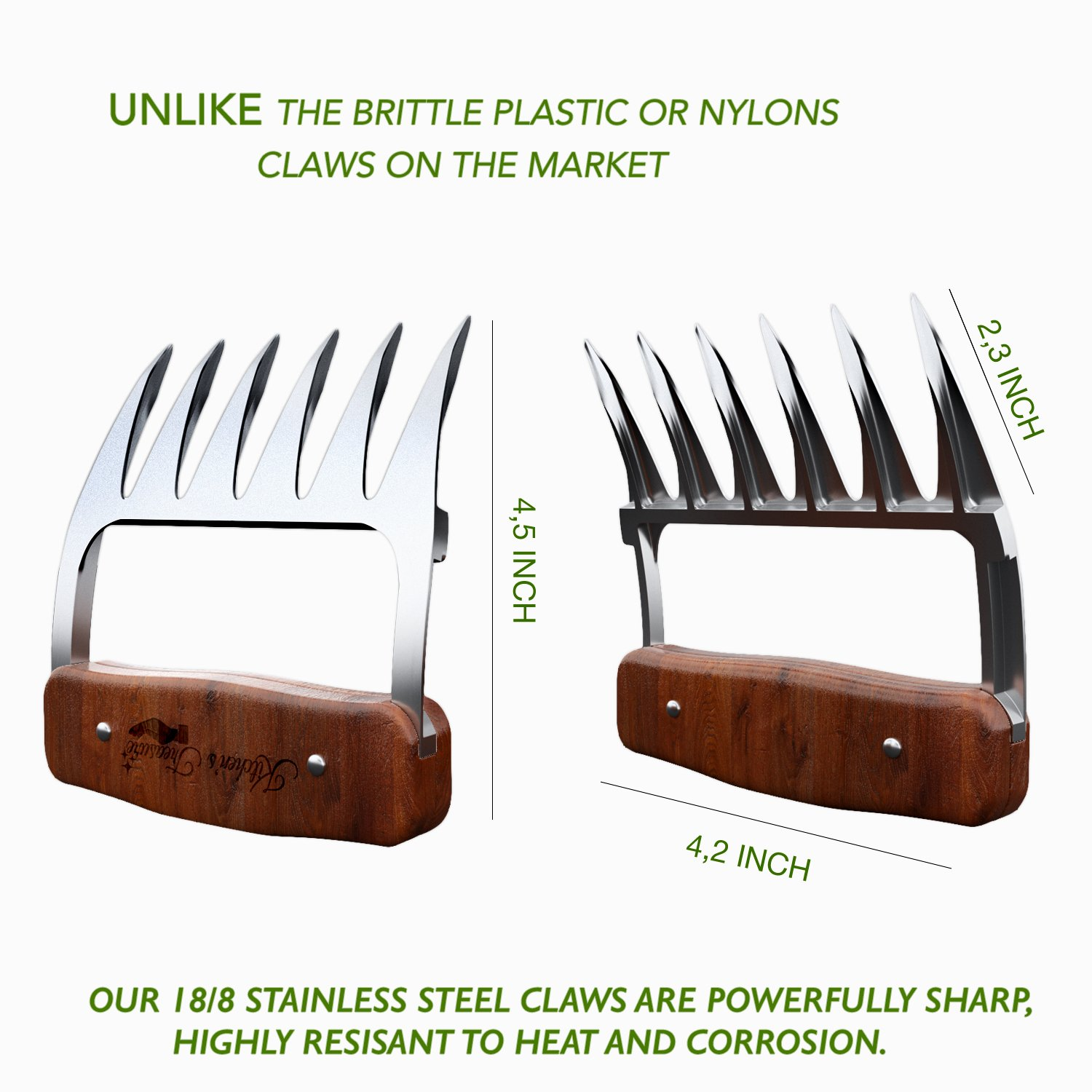 Metal meat claws - Stainless steel- BBQ chicken,Pork Pullers Paws with durable wooden handles - Meat Shredding Forks and Hooks for Lifting, Handling, Shred Roasts and Briskets (2PCS) Kitchen's treasure
