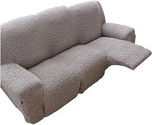 MO&SU Stretch Reclining Sofa Slipcover, High Elastic Sofa Cover Non-Slip Furniture Protector for 3 Cushion Couch Recliner-Light Grey-Sofa 210-240cm