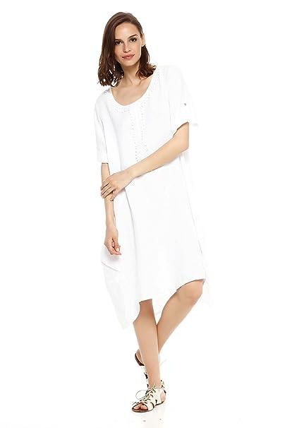 Tunique Espoir Doucel Robe Ample Blanc Romantik Lin Couleur En 4BqzAqFw