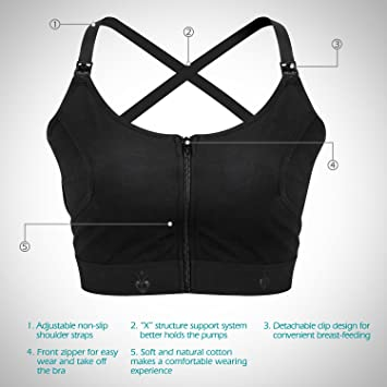 a026d7decd2a4 Amazon.com  Momcozy Hands-Free Pumping and Nursing Bra for Breast Pumps (M