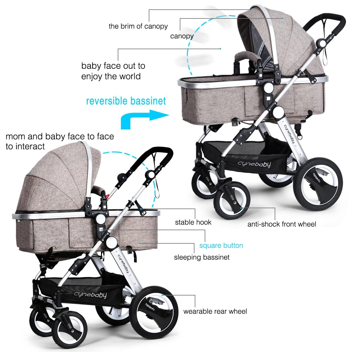 Infant Toddler Baby Stroller Carriage - Cynebaby Compact Pram Strollers add Tray (Khaki) by cynebaby (Image #6)