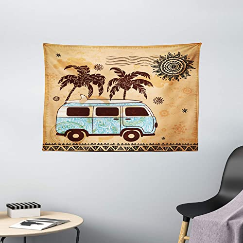 Lunarable Vintage Hawaii Tapestry, Retro Trees Old Van with Abstract Sun Design Beach Surfing Board, Wide Wall Hanging for Bedroom Living Room Dorm, 60 X 40 , Sky Blue