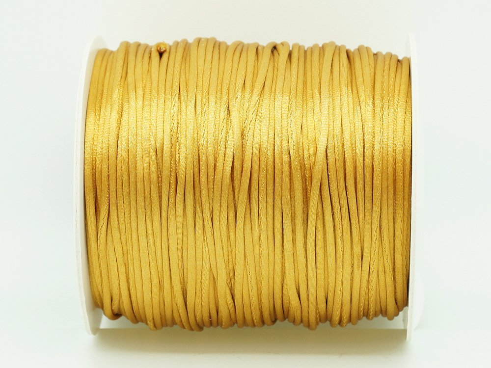 GOLDENROD 1mm Bugtail Satin Cord Shamballa Macrame Beading Nylon Kumihimo String (210ft Spool) Craft & Beads Inc