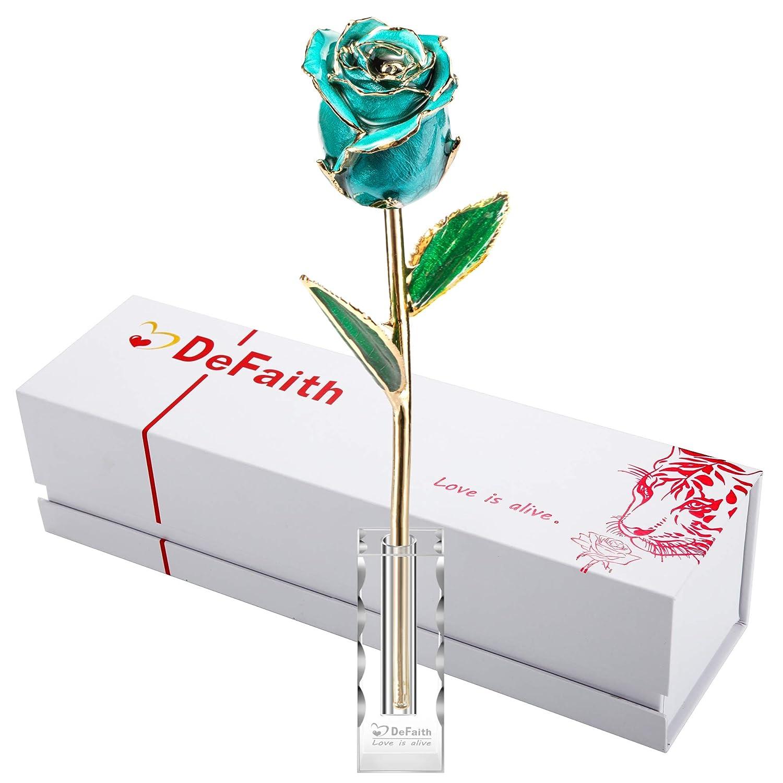 DeFaith 24Kゴールドローズ 彼女用ユニーク、スタンド付き本物のバラの花 レッド B4-20TB-BK B07KQCMKHC Z. Natural, Teal Blue, K9 Crystal Stand
