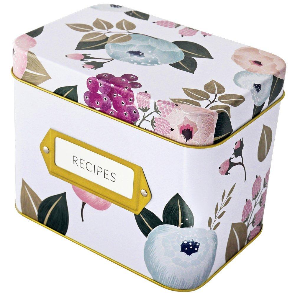 Recipe Box With 24 Cards & 12 Dividers by Polite Society (White Tin) by Polite Society