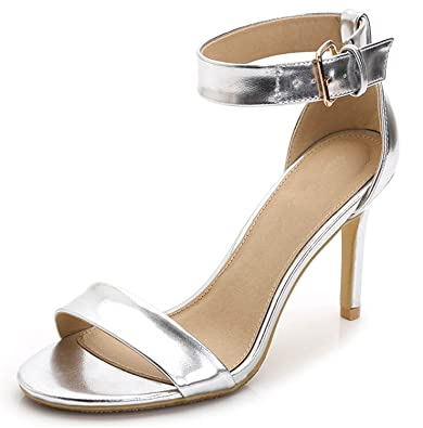 b47e3400c Tirahse Sweet Wmome s Shallow Mouth Open Toe Ankle Strap High Heel Dress  Pumps Sandals Silver Soft