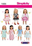 Simplicity Button & Bow Boutique Sewing Pattern 1484 18in Dolls Clothes