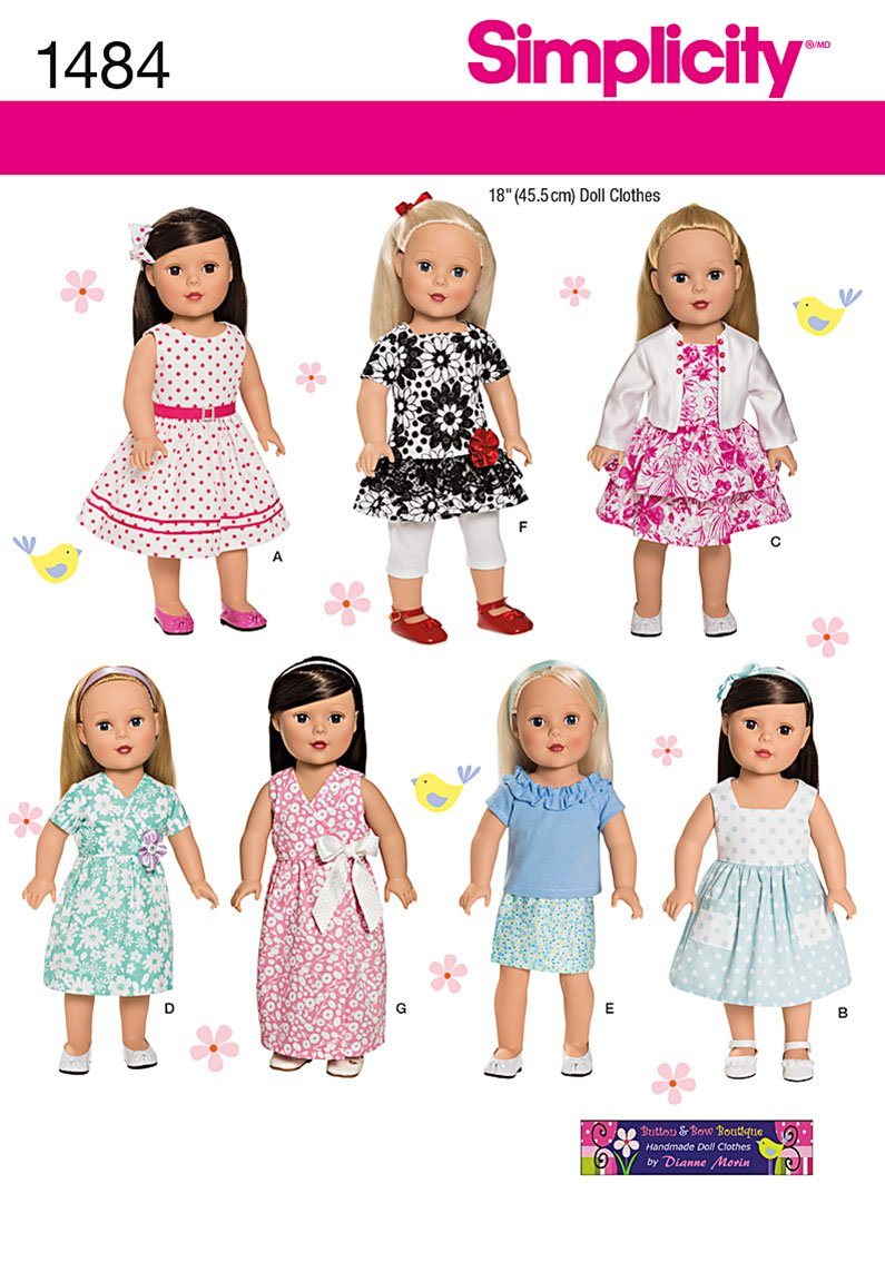 Simplicity pattern 1711os 18 inch once size doll clothes amazon simplicity button bow boutique sewing pattern 1484 18in dolls clothes jeuxipadfo Image collections