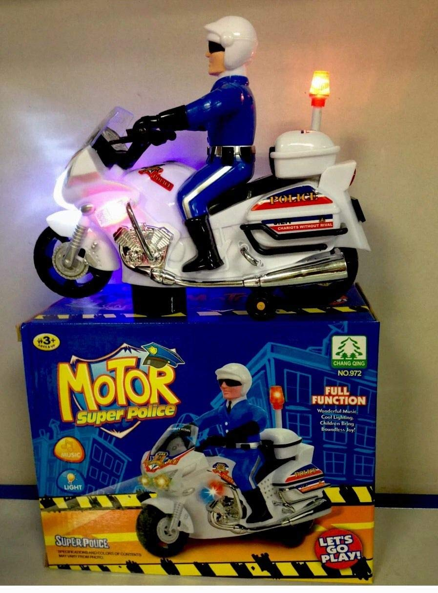 RSENTERPRISE KIDS TOY POLICE BIKE MOTORCYCLE BUMP AND GO ACTION MOTORBIKE BATTERY OPERATED