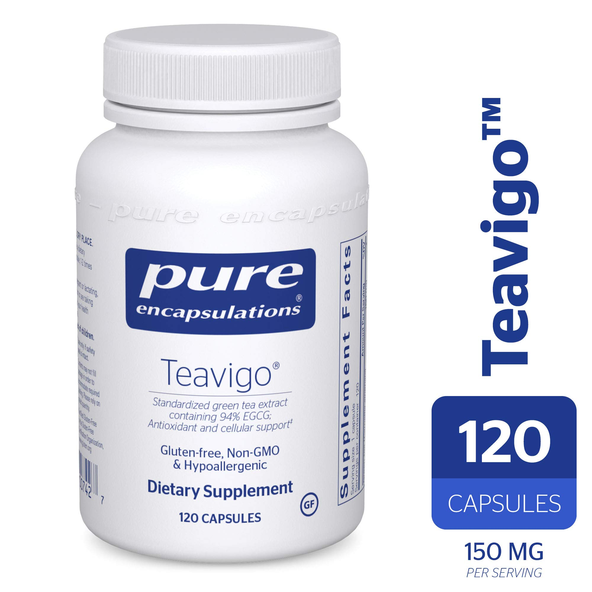 Pure Encapsulations - Teavigo - Hypoallergenic Supplement with Caffeine-Free Green Tea Extract to Provide Antioxidant and Cellular Support* - 120 Capsules