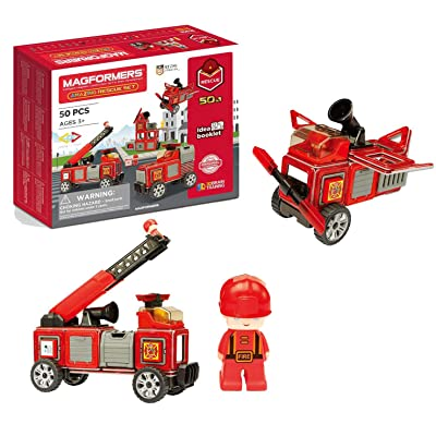Magformers Amazing Rescue 50Piece, Wheels, Red Colors, Educational Magnetic Geometric Shapes Tiles Building STEM Toy Set Ages 3+: Toys & Games