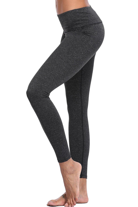 Deep Grey Vegatos Women's Yoga Capris Pants High Waist Tummy Control Active Workout Running Leggings