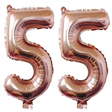 40inch Rose Gold Foil 55 Helium Jumbo Digital Number Balloons 55th Birthday Decoration For Women