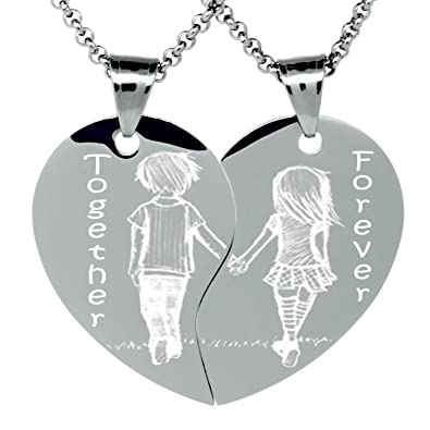 02a1e927e2 Amazon.com: Etched In Time Treasures Boyfriend and Girlfriend Heart Necklace  for 2, Split Heart Love Necklace: Jewelry