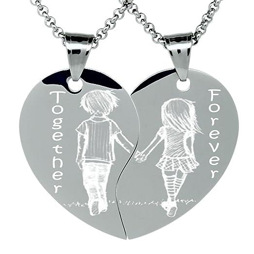 Amazon boyfriend and girlfriend heart necklace for 2 split boyfriend and girlfriend heart necklace for 2 split heart love necklace aloadofball Gallery