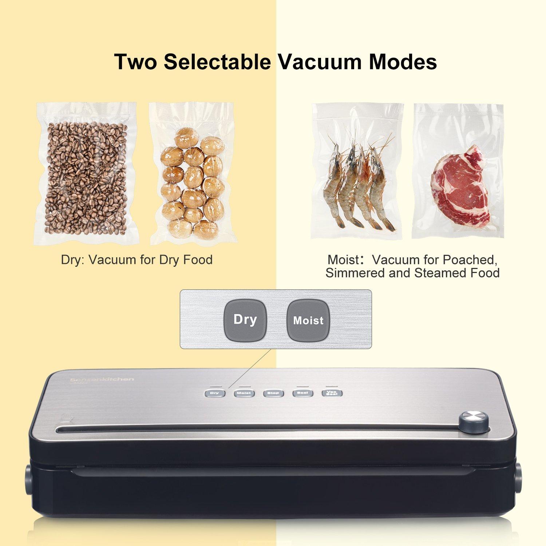 garde les aliments secs et humides frais blanc VS3802 y compris 1 rouleau de film sous vide Machine Sous Vide Appareils de Mise Sous Vide Système Bonsenkitchen