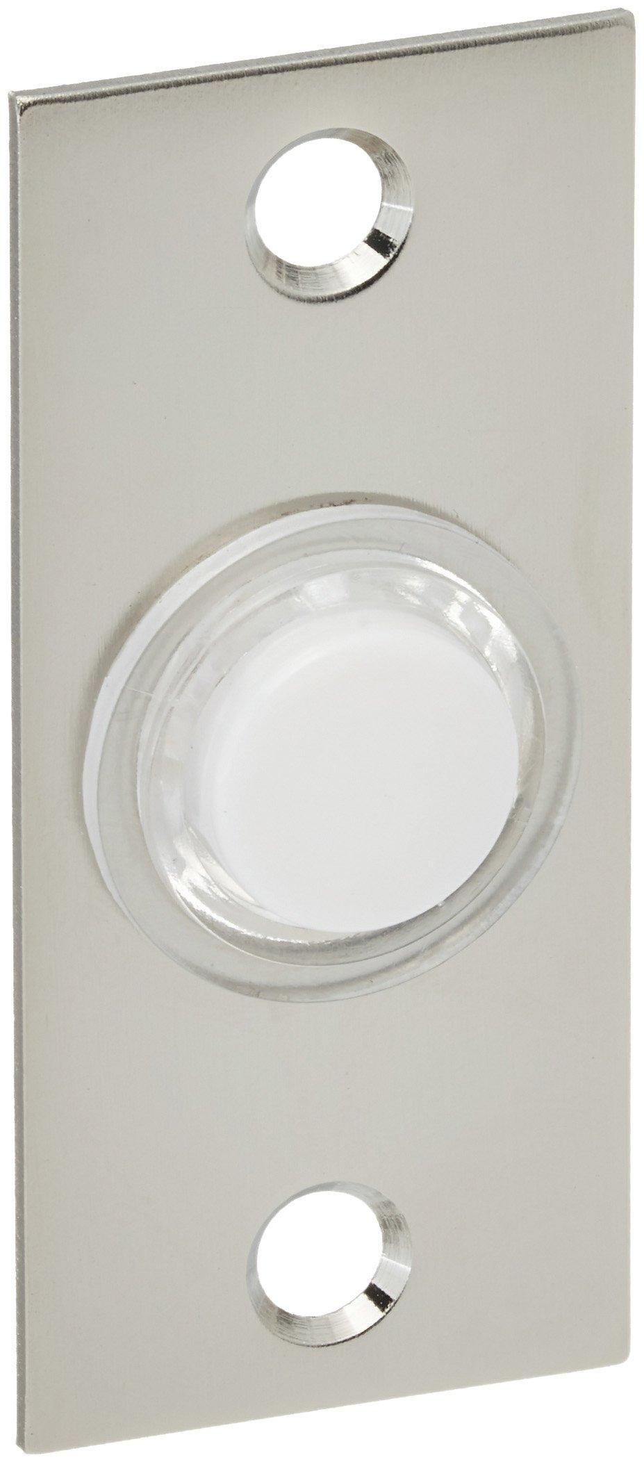 Baldwin 4853056 Rectangular Bell Button, Lifetime Satin Nickel