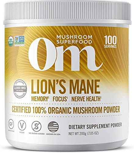 Om Organic Mushroom Nutrition Lion s Mane Memory, Focus, Nerve Health, 100 servings, 7.14 Ounce, 200 Gram