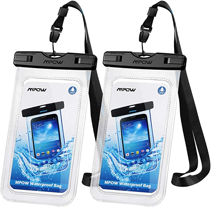 "Mpow 097 Universal Waterproof Case, IPX8 Waterproof Phone Pouch Dry Bag Compatible for iPhone 11/11 Pro Max/Xs Max/XR/X/8/8P Galaxy up to 6.8"", Phone Pouch for Beach Kayaking Travel or Bath (2 Pack) best boating accessories"