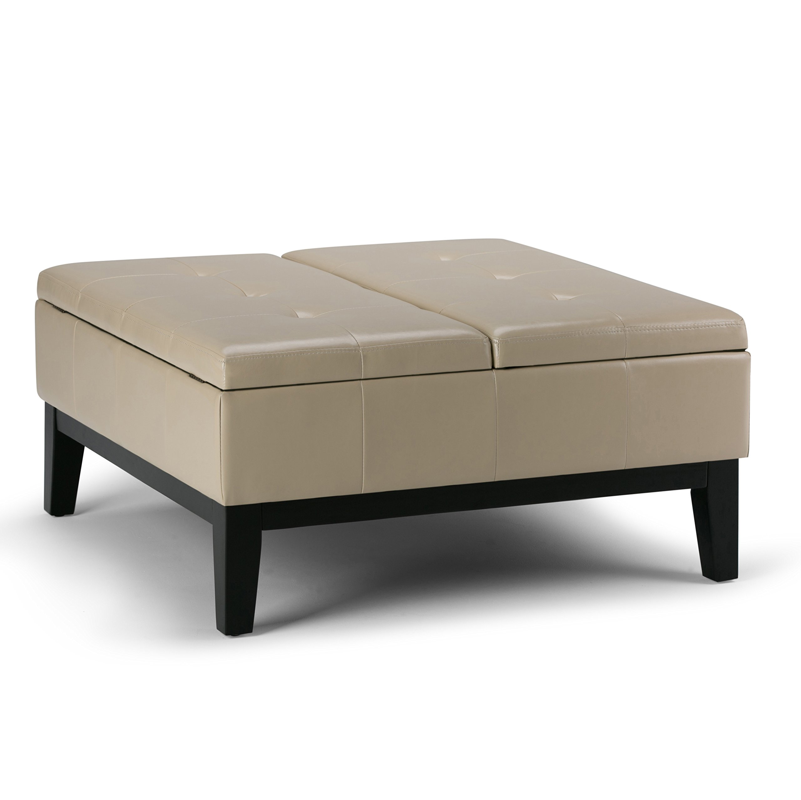 Simpli Home Dover Square Coffee Table Ottoman with Split Lift Up Lid, Satin Cream