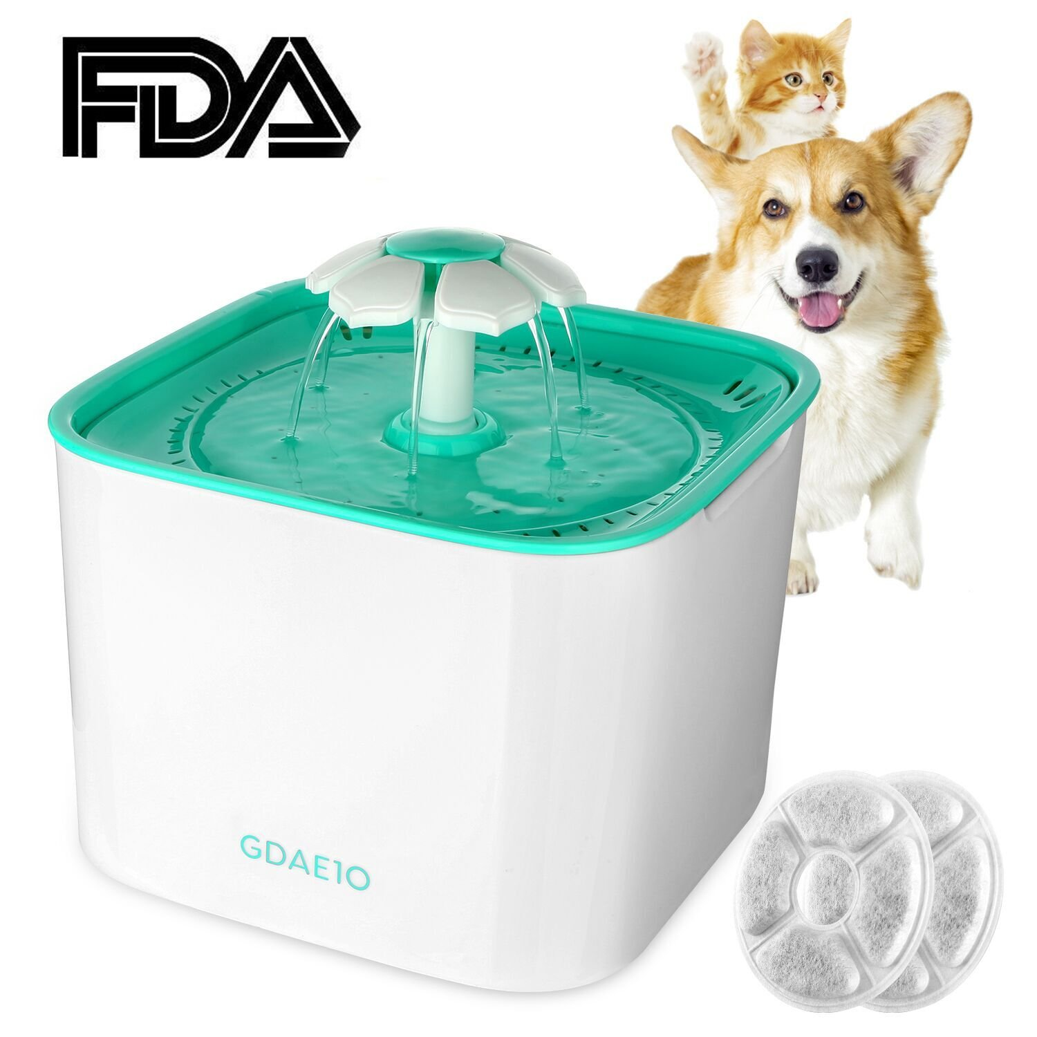 GDAE10 Pet Fountain, Cat Water Dispenser, Automatic Pet Drinking Fountain 2L Super Quiet Flower Circulating Silent Pump with 2 Replacement Filters for Cats, Dogs, Birds and Small Animals
