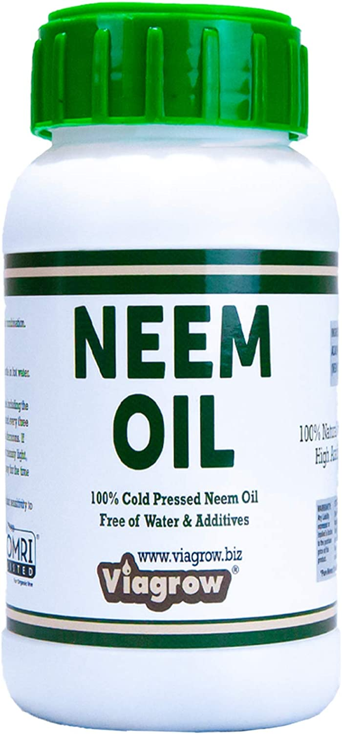 Viagrow 100% Cold Pressed Neem Seed Oil for Plants (8oz Bottle/Makes 12 Gallons), OMRI Listed