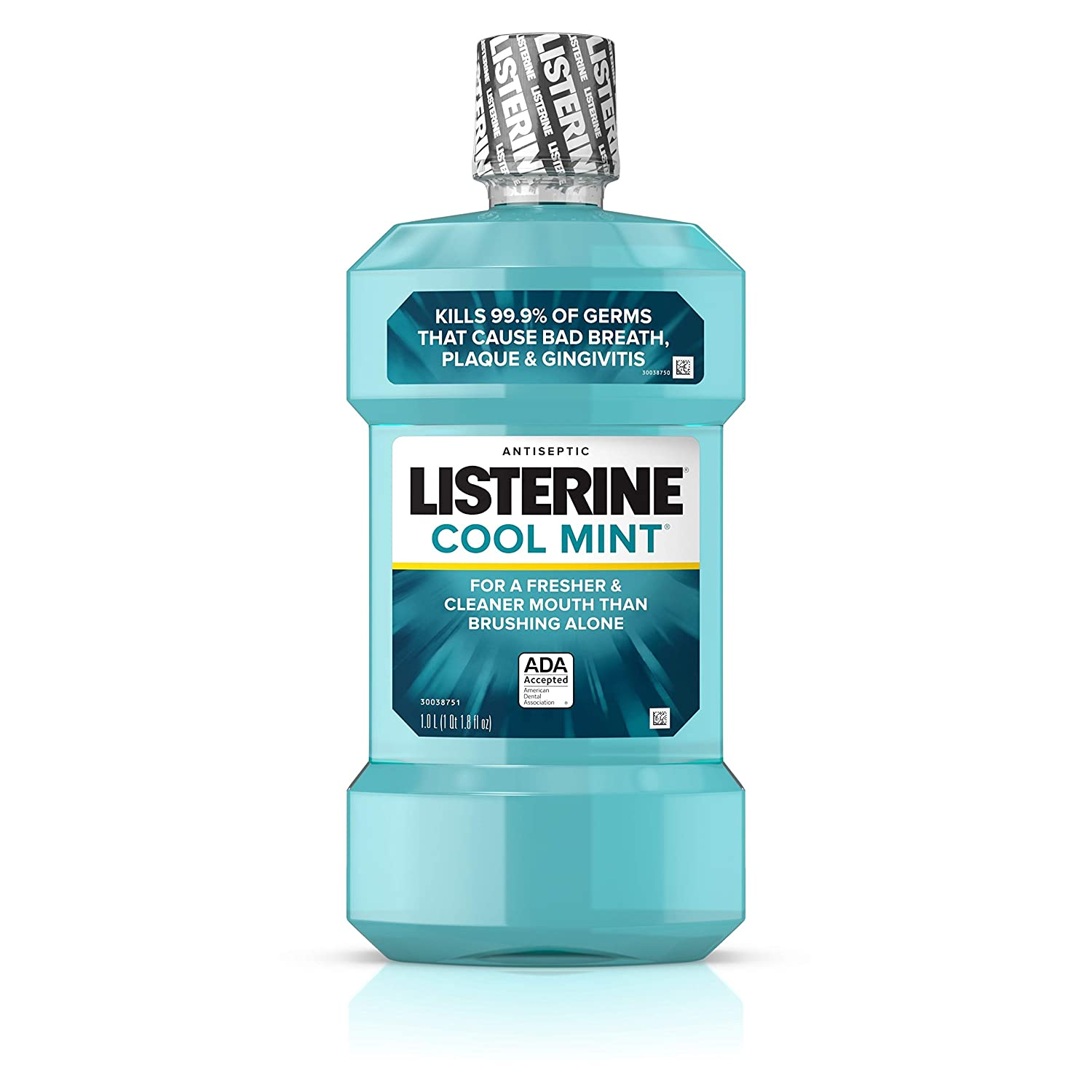 Listerine Cool Mint Antiseptic Mouthwash for Bad Breath, Plaque and Gingivitis, 1 l