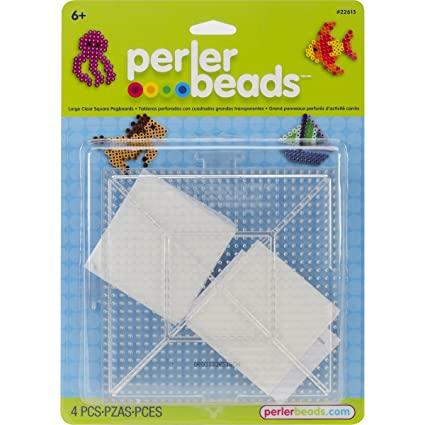 Amazon.com: Perler 22613 Beads Large Clear Square Pegboards- 2 Count ...