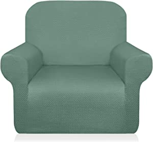 Granbest Thick Armchair Slipcovers for Living Room Stylish Pattern Chair Covers Stretch Jacquard Sofa Slipcover for Dog Pet Anti-Slip Furniture Protector Washable (Small, Matcha Green)