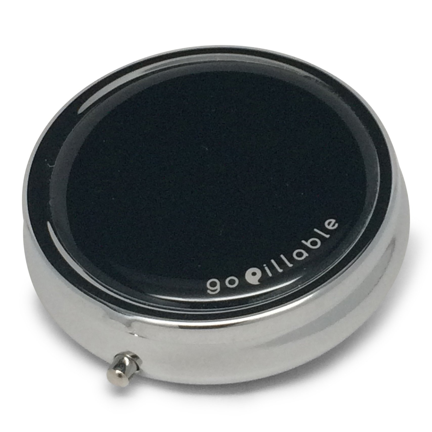 GoPillable Black Decorative Round Pill Box for Purse or Pocket