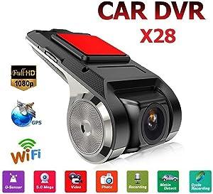 X28 Dash Cam 1080P FHD Car DVR Camera Video Recorder WiFi ADAS G-sensor (Black)