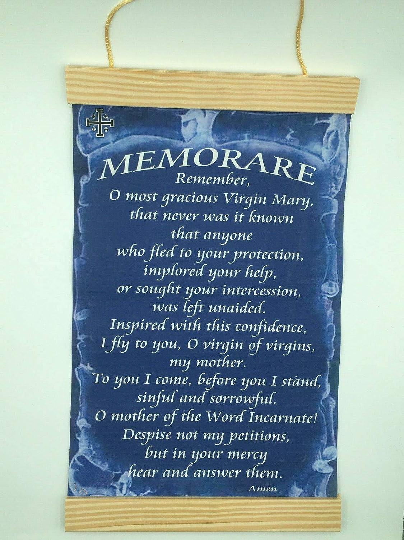 graphic regarding Memorare Prayer Printable identified as : Canvas Wall Print Memorare Prayer, 8x12.Dim