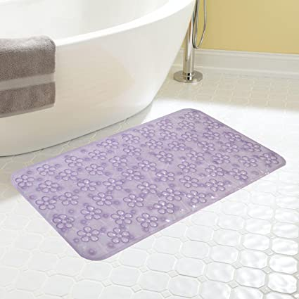 Kuber Industries PVC Non Slip Bathroom Mat with Suction Cups - 28x14, Purple