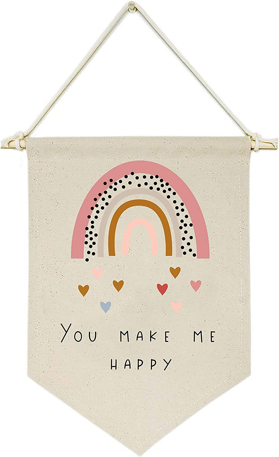 Topthink You Make Me Happy,Rainbow,Heart - Canvas Hanging Flag Banner Wall Sign Decor Gift for Baby Kids Girl Boy Nursery Teen Room Front Door
