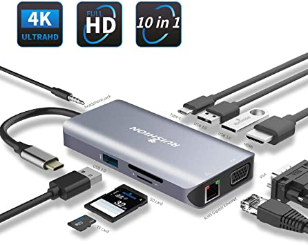 Silver Compatible for MacBook OS//Windows//Linux//Mobile phone and more USB-C to HDMI+VGA Adapter USB3.1 Type-C to VGA HDMI 4K