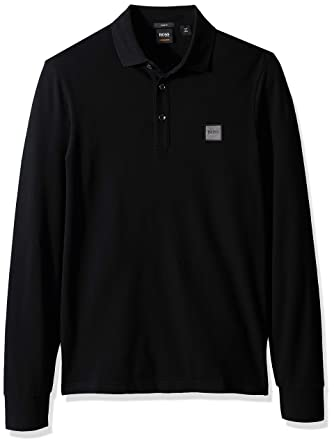 cb2d4aad BOSS Orange Men's Passerby Long Sleeve Polo with Chest Logo Patch, Black  Small