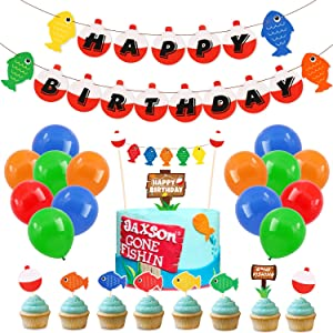 70 Pack Gone Fishing Happy Birthday Party Kits Little Fisherman The Big One Banner Cake Topper Cupcake Topper Balloons Decorations Photo Props Summer Reel Fun Ideas Supplies