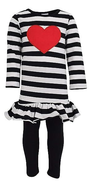 c4b23dc4c Amazon.com: Unique Baby Girls Striped Heart Valentine's Day 2 Piece ...