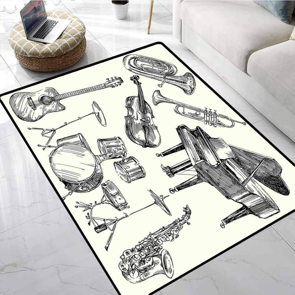Jazz Music Low-Profile Mats Collection of Musical Instruments Sketch Style Art with Trumpet Piano Guitar Anti-Skid Area Rug 36 X 60 Inch by Anmaseven