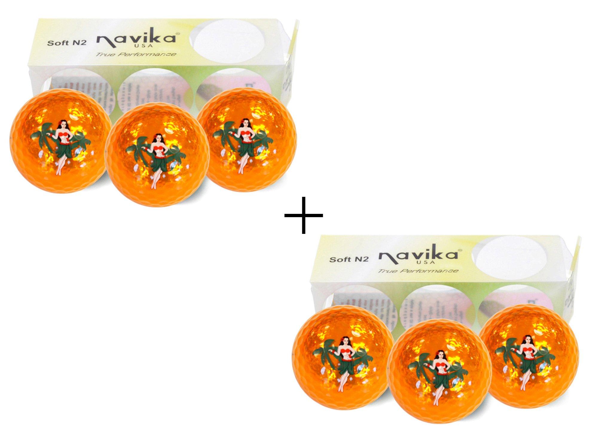 Navika Golf Balls- Hula Girl Imprinted Orange Metallic (2 PACK)/Hawaiian