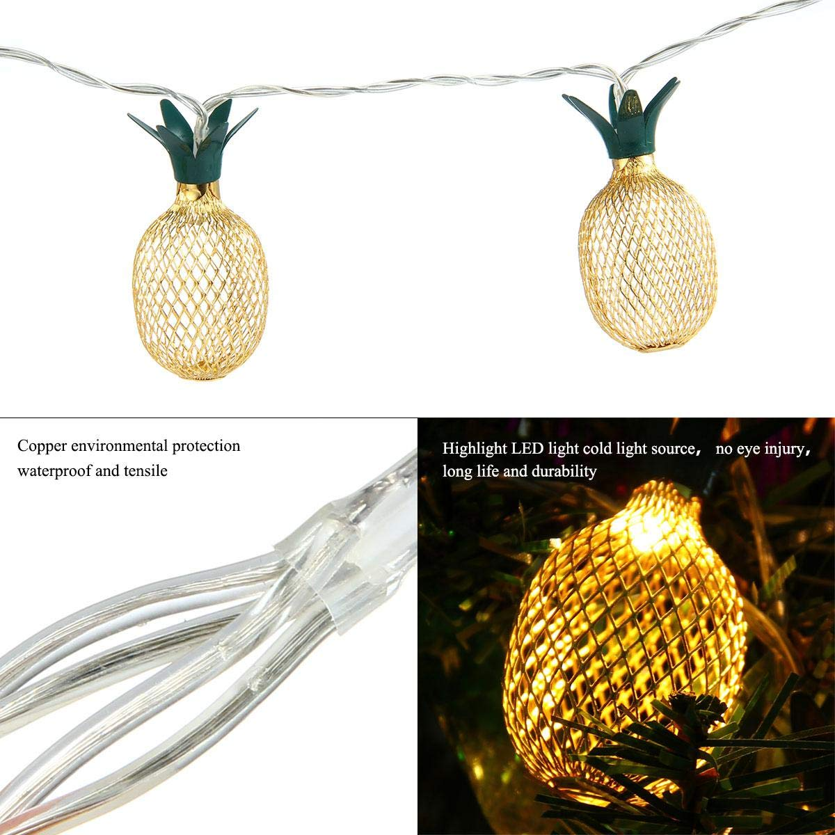 Pineapple String Lights, 200in/5m 40 LED Bulbs WaterproofSolar ChargingLantern String Lights with 2 Light Mode Fairy Lights for Wedding Garden Festival Party Halloween Christmas Indoor & Outdoor by Umiwe (Image #3)