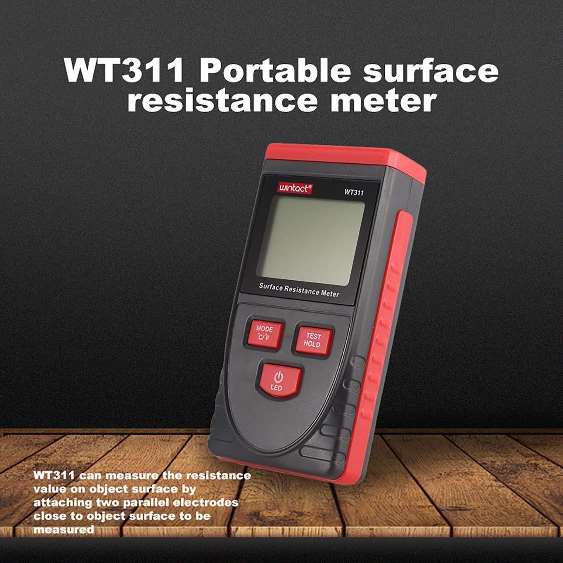 WINTACT WT311 Mesureur de r/ésistance /à la surface antistatique testeur de poche Moniteur de r/ésistance /à la terre avec fonction de maintien des donn/ées
