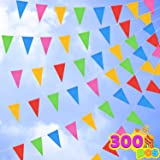 300 Pennant Flags 375ft 5 Colors Nylon Banner for Grand Opening, Carnivals Party and Shop Celebrations, Fiesta Party Supplies