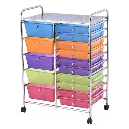 Giantex 15 Drawer Rolling Storage Cart Tools Scrapbook Paper Office School  Organizer