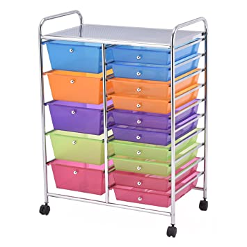 Giantex 15 Drawer Rolling Storage Cart Tools Scrapbook Paper Office School  Organizer (15 Drawer)