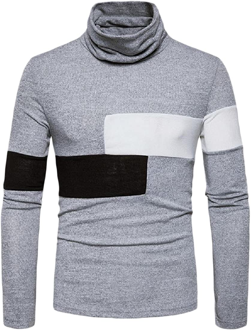 YUSKYMen YUSKY Mens Long-Sleeve Warm Color Block Turtleneck Knitted Sweater