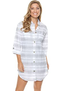 6796b24c9ea Dotti Women s Vertical Striped Button Down Coverup at Amazon Women s ...