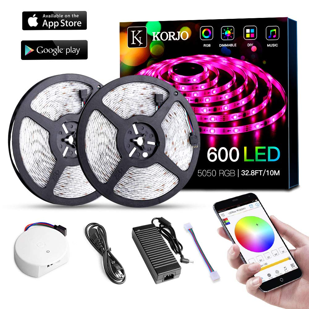 Solarphy 32.8ft/10m Led Strip Lights, Bluetooth App Controlled LED Music Light Waterproof Light Strips, 24V 600 Leds 5050 RGB Multicolored Rope Light Kit, Flexible Led Strip Lighting for Home Kitchen by KORJO